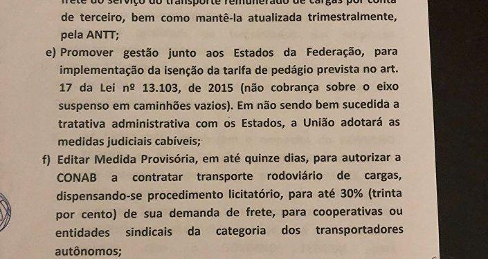 Termo de acordo entre o governo federal e entidades representantes dos caminhoneiros em greve (2)
