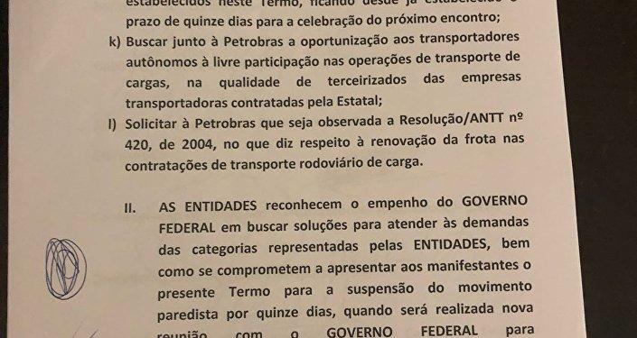 Termo de acordo entre o governo federal e entidades representantes dos caminhoneiros em greve (3)
