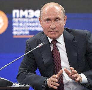 Presidente russo, Vladimir Putin, durante Fórum Econômico Internacional de São Petersburgo