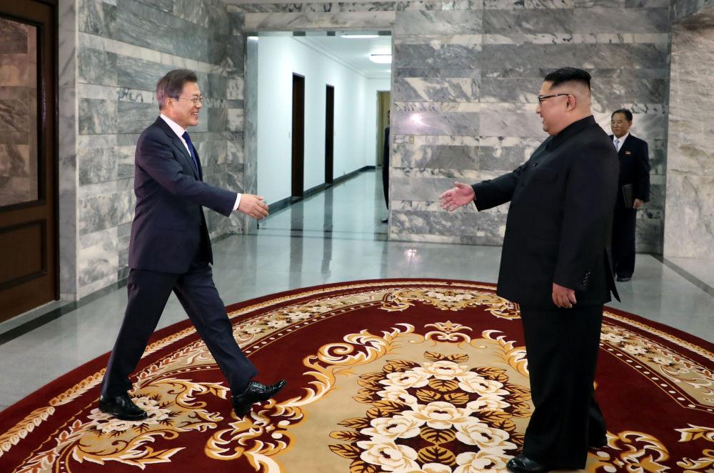 Esse foi o segundo encontro de Moon Jae-in e Kim Jong-un. O primeiro aconteceu em abril