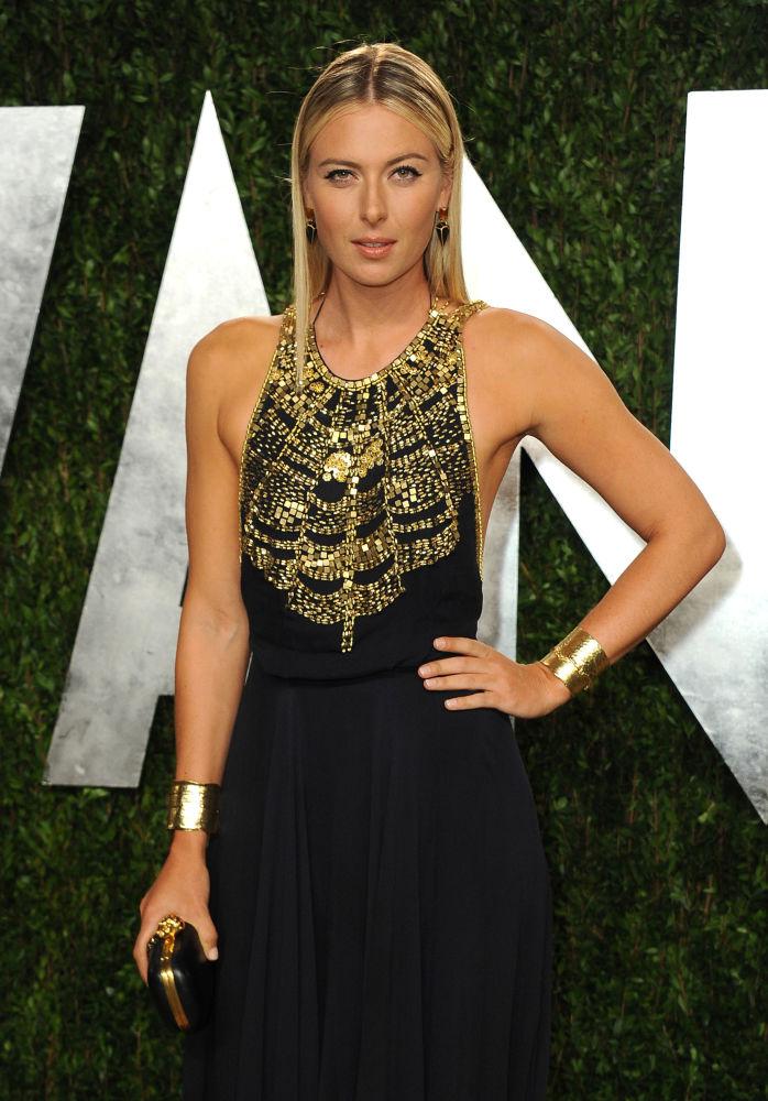 Jogadora de tênis russa, Maria Sharapova, atendendo ao evento Vanity Fair Oscars Viewing, 2013