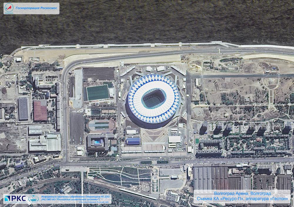 Imagem do estádio Volgograd Arena tirada pelo satélite russo Resurs-P nas vésperas da Copa do Mundo 2018, na cidade-sede de Volgogrado