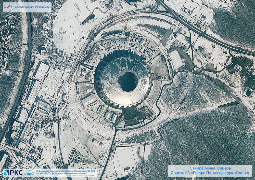 Imagem do estádio Samara Arena tirada pelo satélite russo Resurs-P nas vésperas da Copa do Mundo 2018, na cidade-sede de Samara