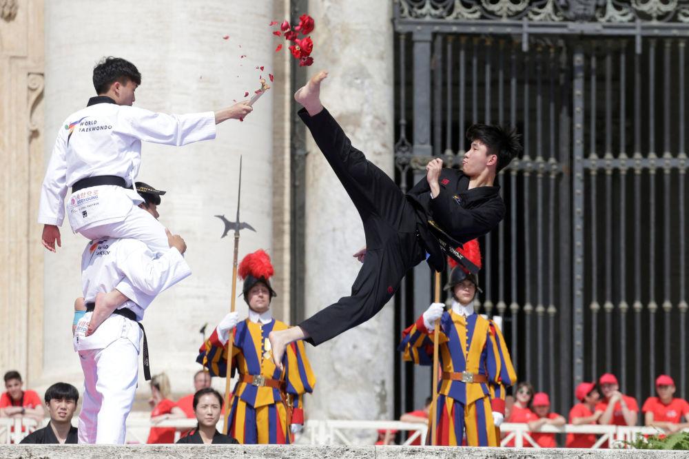 Atletas de taekwondo coreanos se apresentam perante o Papa Francisco, no Vaticano
