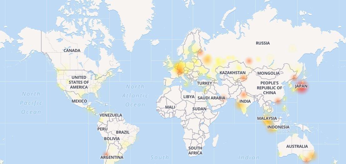 Mapa das regiões que têm problemas com o Instagram, publicado pelo site Down Detector
