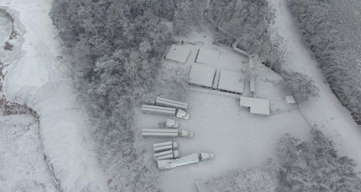 Fotografia aérea da área coberta por cinzas após a erupção do vulcão Fogo na Guatemala, em 4 de junho de 2018