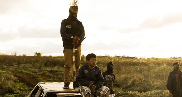 Acampamento da retomada de Guaiviry, em Aral Moreira.