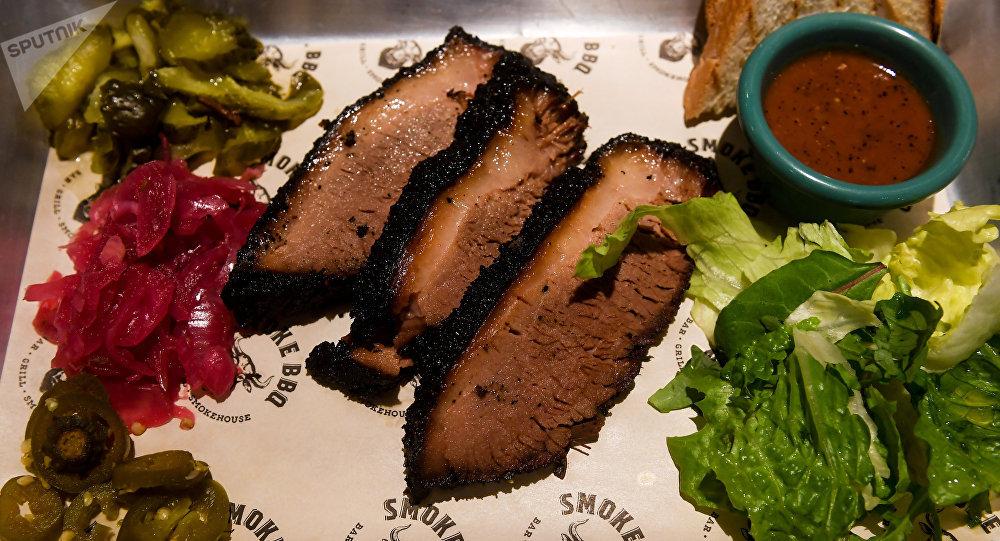 Refeição especial do Restaurante Smoke BBQ em São Petersburgo