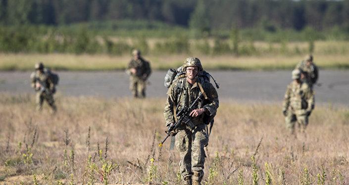 Soldados dos EUA durante as manobras Siber Strike 2018 na Lituânia