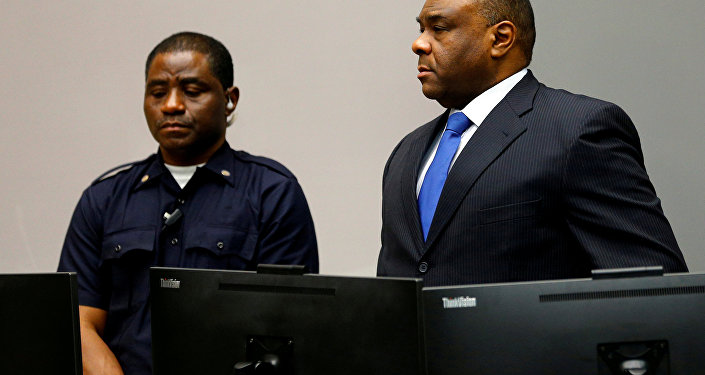 Jean-Pierre Bemba, ex-vice-presidente da República Democrática do Congo durante audiência do Tribunal Penal Internacional (ICC) em Haia, em 21 de junho de 2016 (foto de arquivo)