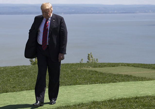 O presidente dos EUA, Donald Trump, na Cúpula do G7 em La Malbaie, Canadá, em 8 de junho de 2018.