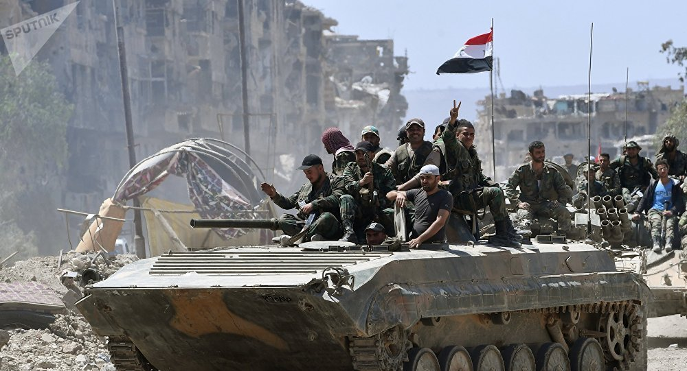 Soldados do Exército Sírio em um BMD-1