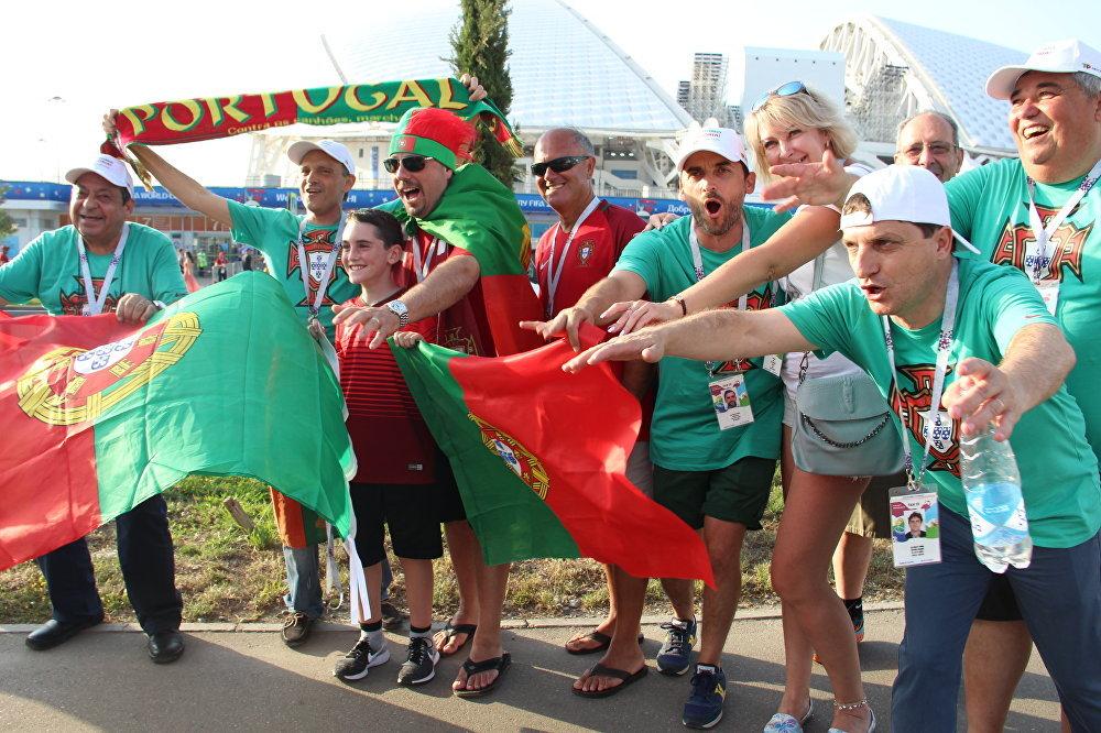 Torcida da RAX Portugal antes do jogo Portugal-Espanha, em Sochi, em 15 de junho de 2018