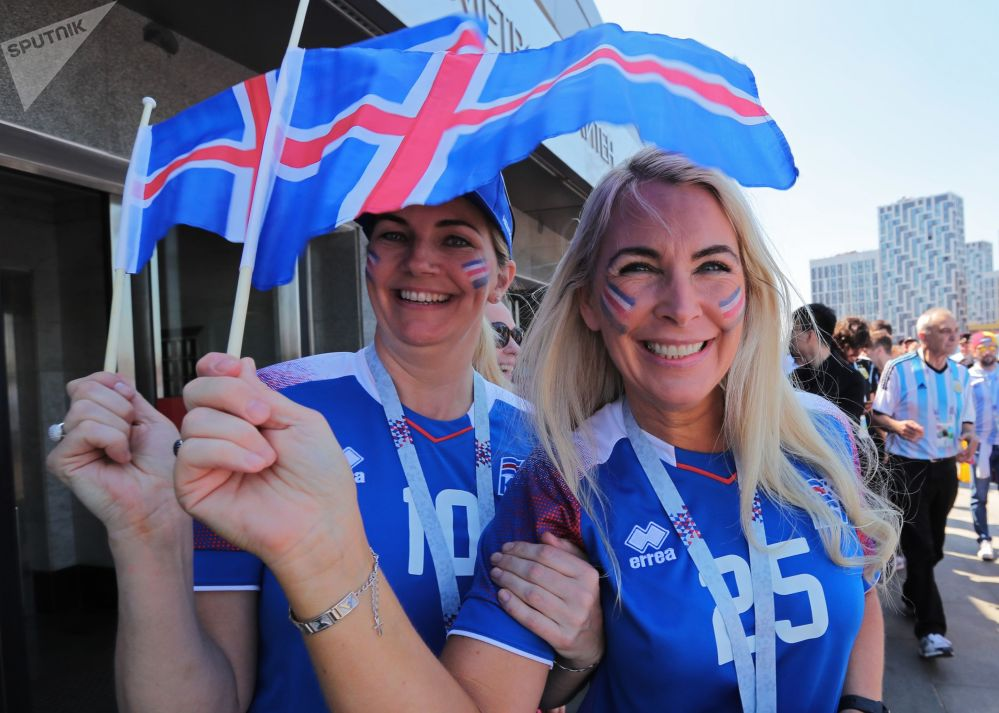 Torcedoras islandesas esperando o jogo entre Argentina e Islândia.