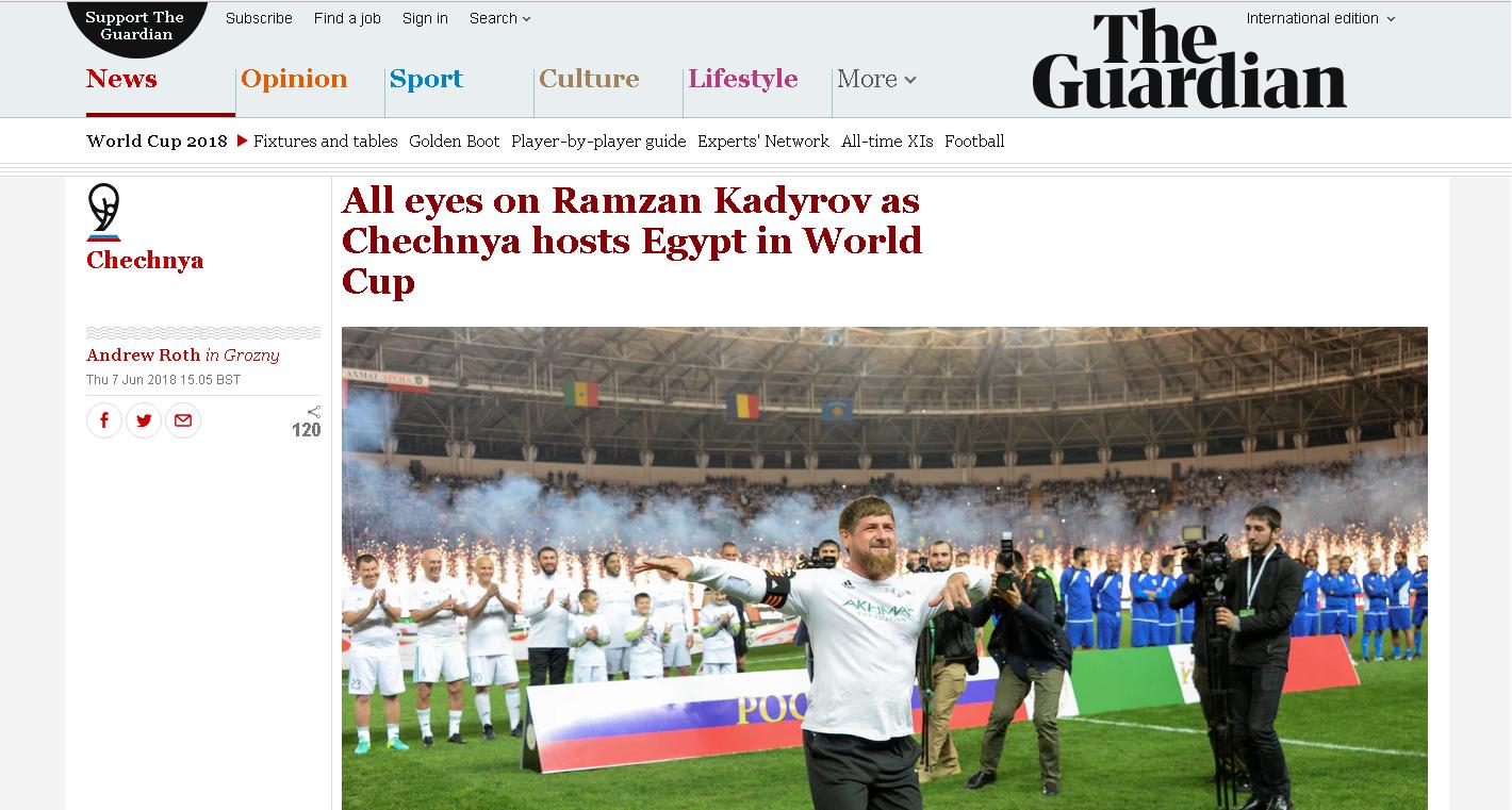 Print da reportagem sobre Kadyrov no The Guardian