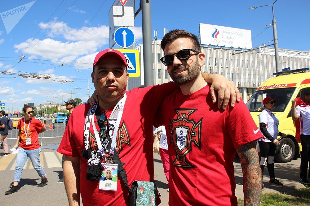 Valter e Ricardo, torcedores lusos, antes do jogo Portugal-Marrocos, em 20 de junho de 2018, em Moscou