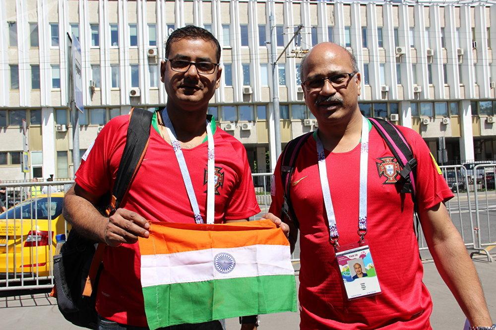 Torcedores da equipe portuguesa, originais da Índia, antes do jogo Portugal-Marrocos, em 20 de junho de 2018, em Moscou
