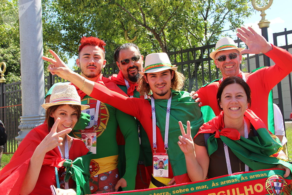 Torcedores portugueses antes do jogo Portugal-Marrocos, em 20 de junho de 2018, em Moscou