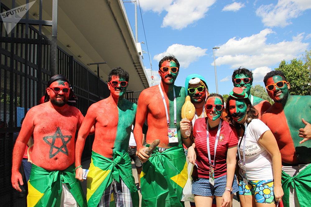 Torcida Os Loucos de Cascais antes do jogo Portugal-Marrocos, em 20 de junho de 2018, em Moscou