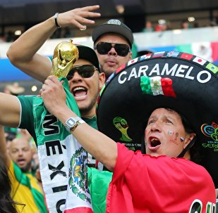 Mexico's fans celebrate team 1:0 victory in the World Cup Group F soccer match between Germany and Mexico at the Luzhniki stadium in Moscow, Russia, June 17, 2018