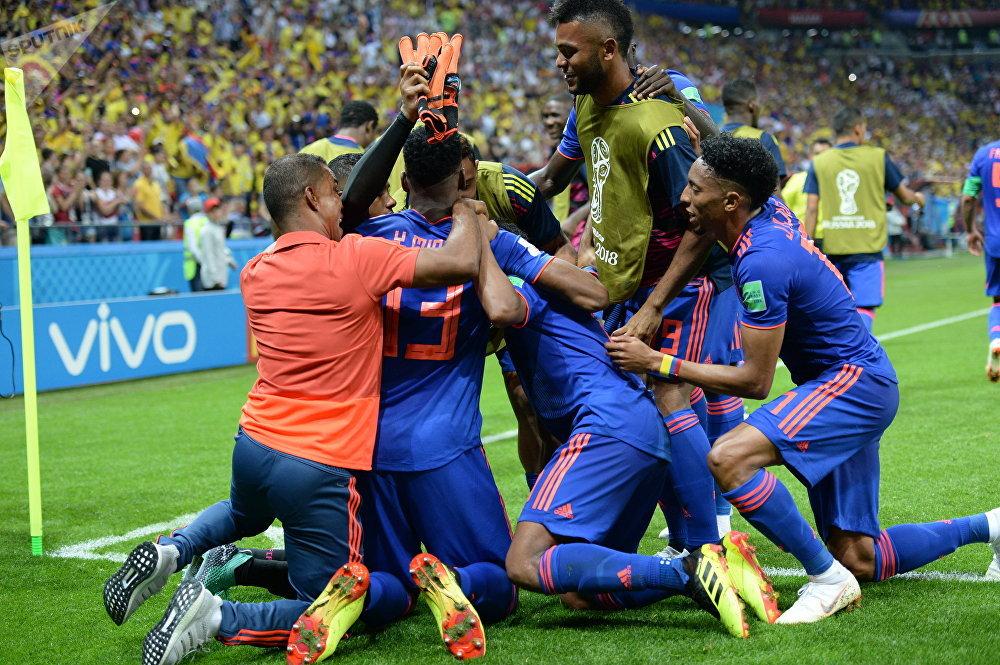 Partida entre Colômbia e Polônia na Copa do Mundo 2018 na Rússia