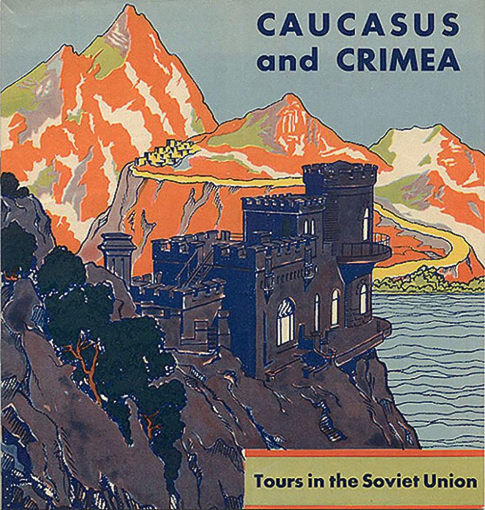 Panfleto turístico intitulado Cáucaso e Crimeia, datado de 1932
