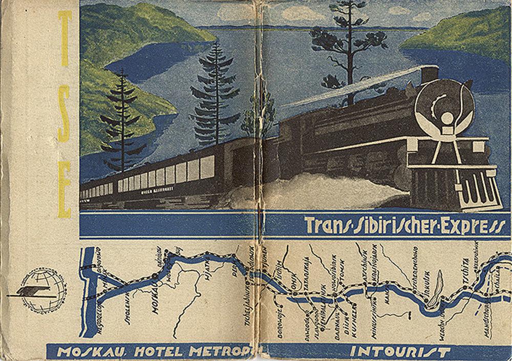 Panflete turístico intitulado Ferrovia Transiberiana, datado de 1935