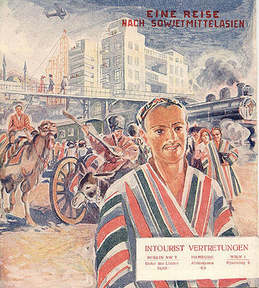 Panfleto turístico intitulado Eine Reise nach Sowjet-mittelasien (Viagem à Ásia Central Soviética em alemão), datado de 1933
