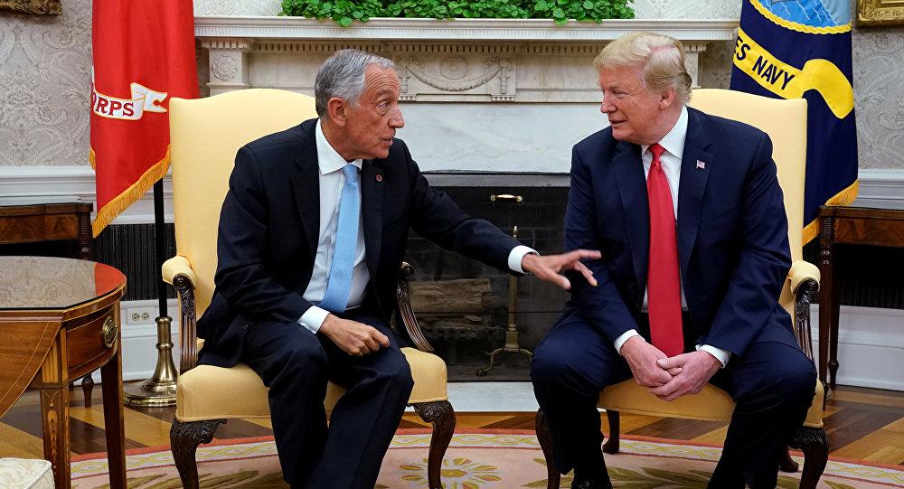 O presidente dos EUA Donald Trump e o presidente português Marcelo Rebelo de Sousa na Casa Branca, Washington, EUA, 27 de junho de 2018