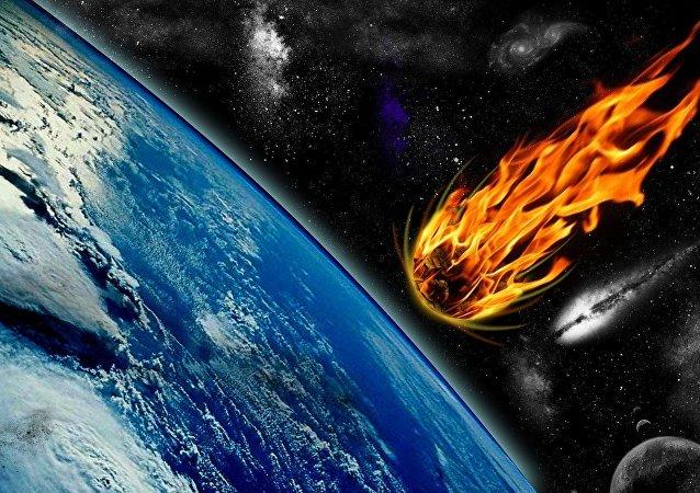Asteroide caindo na Terra (imagem gráfica)