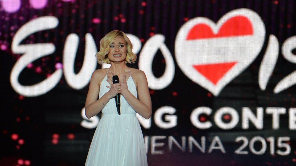 Cantora russa Polina Gagarina durante a Eurovisão em Vienna, em 23 de maio de 2015.