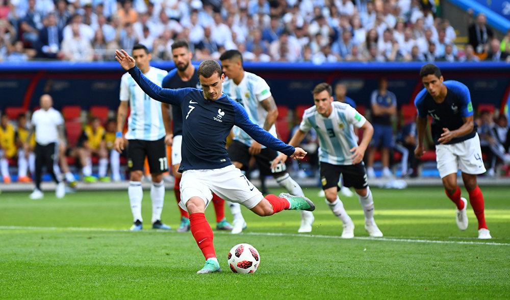 Antoine Griezmann marcou seu primeiro na Copa em cobrança de pênalti.