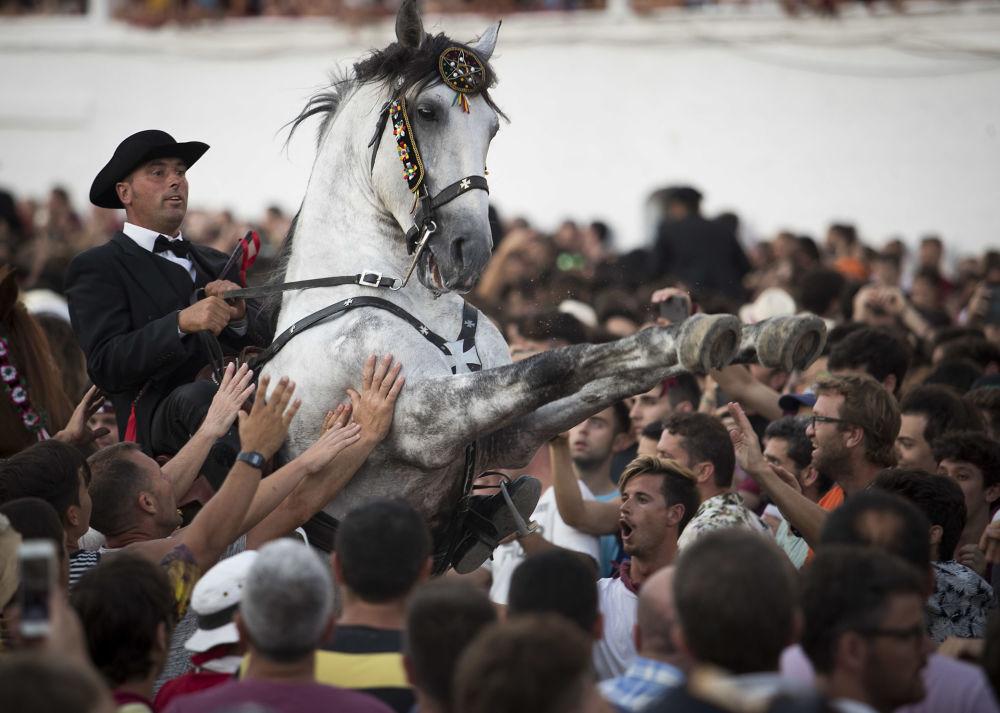 Cavalo com cavaleiro em meio à multidão durante a celebração tradicional da festa de São João na ilha espanhola de Menorca