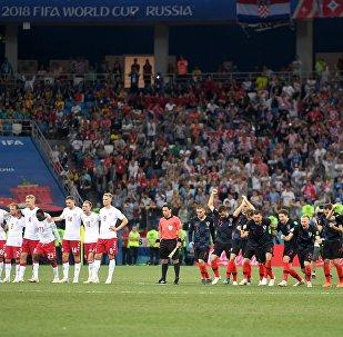 Seleção da Croácia celebra após classificação para as quartas de final da Copa