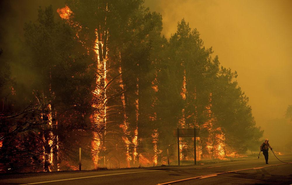 Bombeiro durante extinção de incêndios florestais, Califórnia