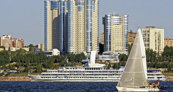 Complexo residencial na margem do rio Volga em Samara