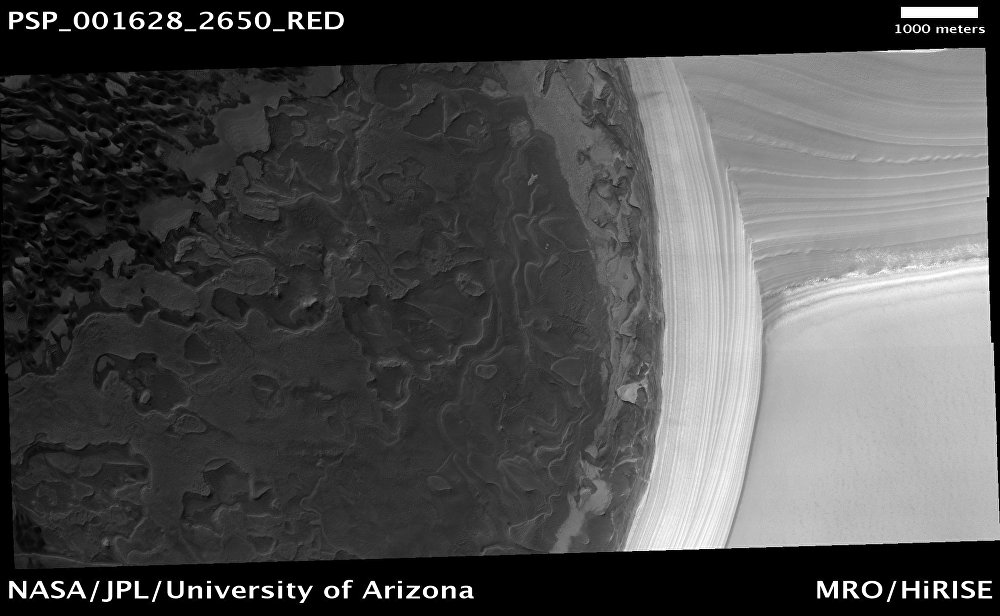 Depósitos estratificados no Polo Norte de Marte (1º de dezembro de 2006)