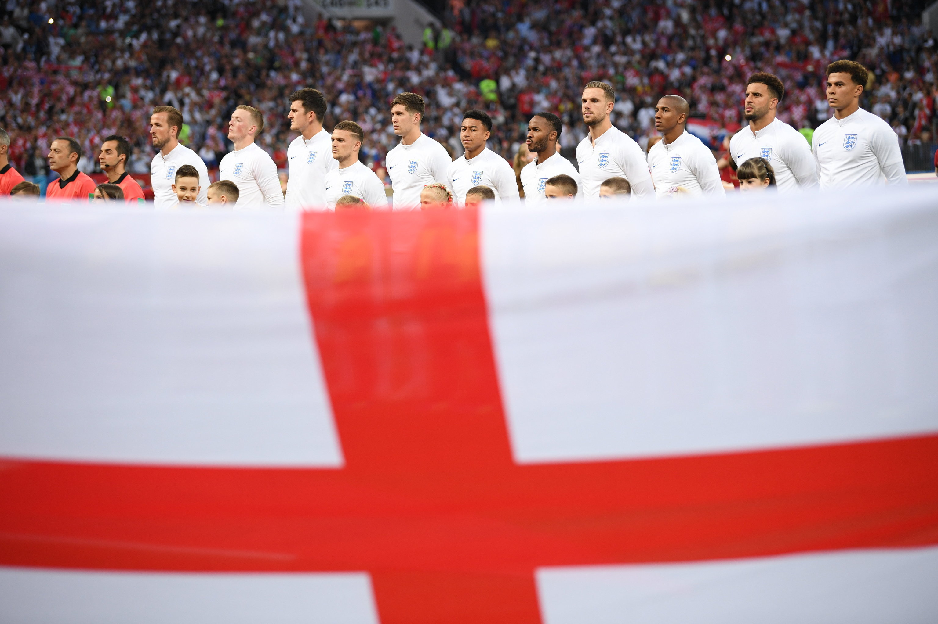 Seleção inglesa no estádio Luzhniki antes do jogo contra a Croácia