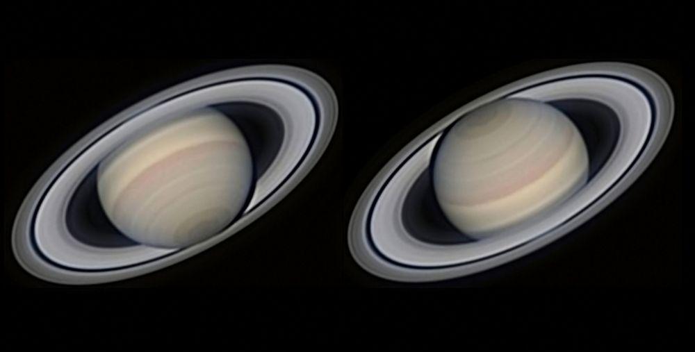 Saturno magnífico por Avani Soares. A fotografia em alta resolução mostra o segundo maior planeta do Sistema Solar em vários ângulos