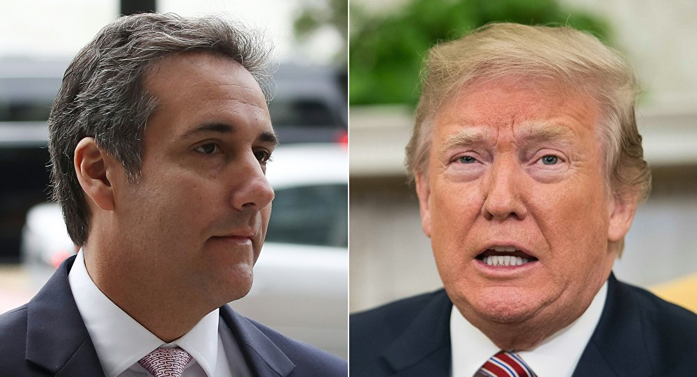 Combinação de imagens mostrando Michael Cohen, advogado do presidente norte-americano, e Donald Trump, 11 de abril de 2018
