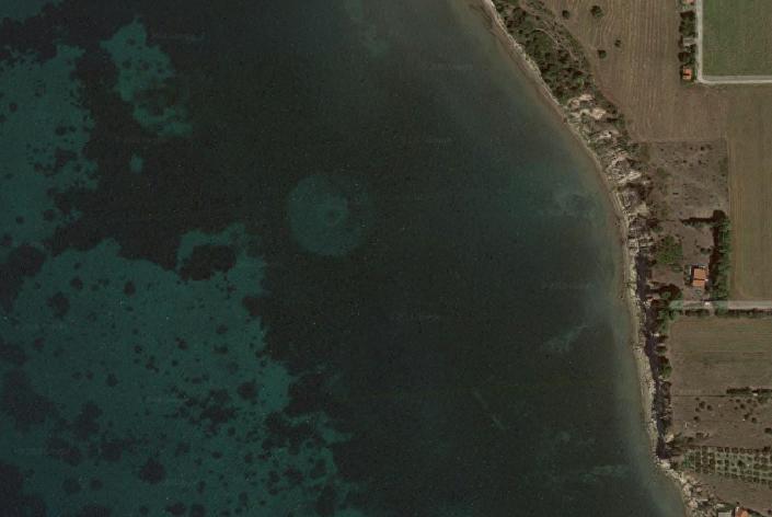 Captura de imagem do Google Maps no mar Egeu ao largo da costa da Grécia, 29 de julho de 2018
