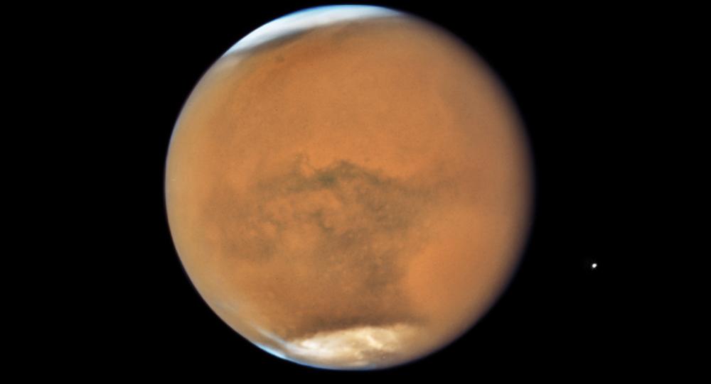 Imagem de Marte cptada pelo telescópio espacial Hubble pertencente à NASA