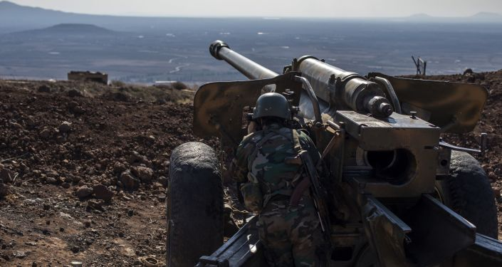 Militar do Exército Árabe Sírio na província de Quneitra, Síria
