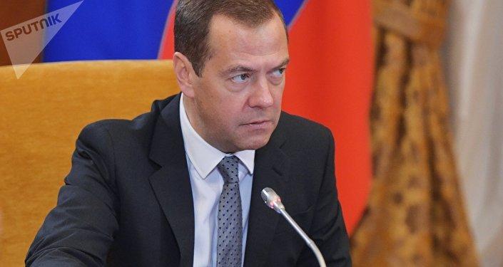 O primeiro-ministro da Rússia, Dmitry Medvedev, durante encontro em 2017.