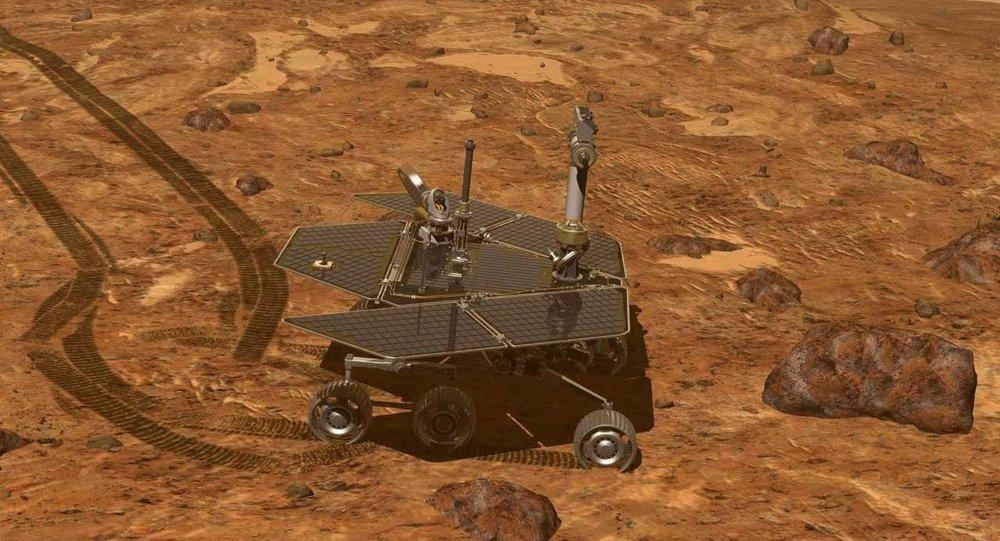 Visão artística do rover marciano, Opportunity, na superfície do Planeta Vermelho