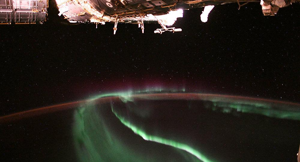 Aurora boreal fotografada do espaço pelo astronata da NASA, Alexander Gerst