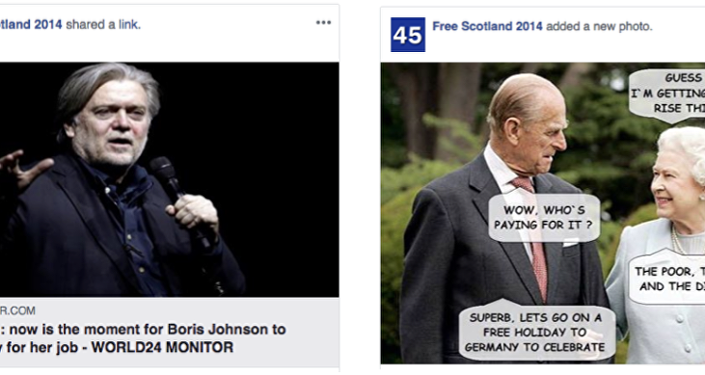 Post de uma das páginas removidas pelo Facebook divulga suposta declaração do ex-estrategista-chefe da Casa Branca, Steve Bannon, dizendo que era chegado o momento de [o ex-secretário de Relações Exteriores do Reino Unido] Boris Johnson desafiar Theresa May pelo cargo de premiê do país. Ao lado, uma montagem mostra a rainha Elizabeth II ao lado do marido, príncipe Philip discutindo um aumento de 6,7% nos repasses anuais recebidos pela monarquia, financiados pelos pobres, doentes e deficientes de acordo com a imagem.
