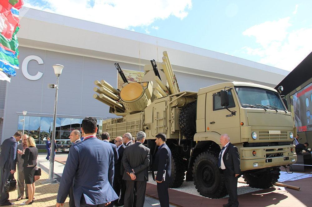 Sistema de defesa antiaérea Pantsir-S1 é mostrado durante o fórum militar EXÉRCITO 2018