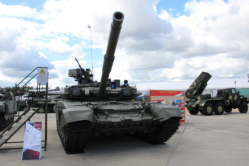 Tanque T-90A é mostrado durante o fórum militar EXÉRCITO 2018