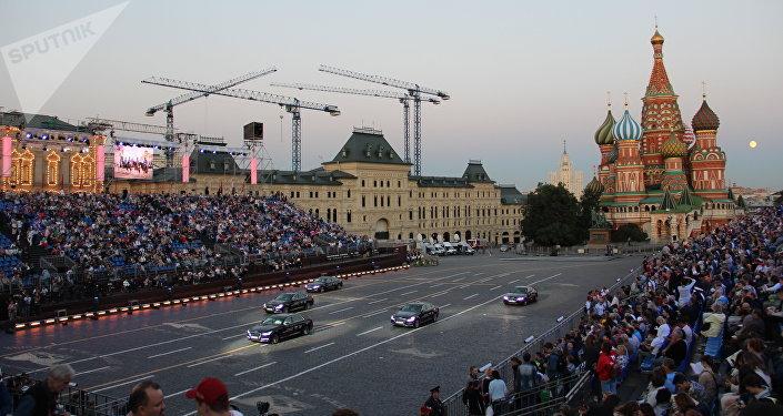 Abertura do festival Spasskaya Bashnya na Praça Vermelha, em 24 de agosto de 2018